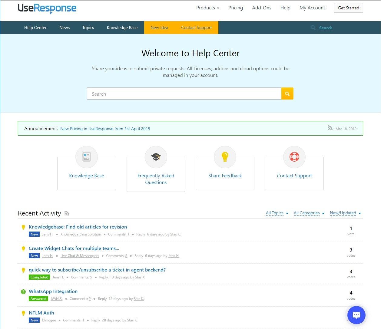 UseResponse screenshot: Support center dashboard