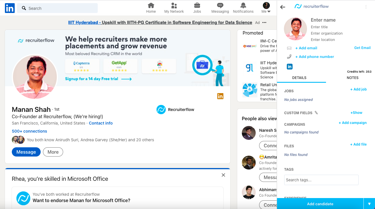 Source candidates and clients across the web using the chrome extension