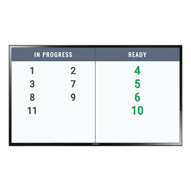 Order processing tracking display