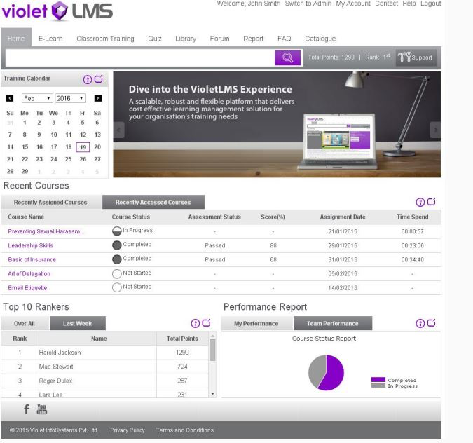 Violet LMS screenshot: Violet LMS homepage screenshot