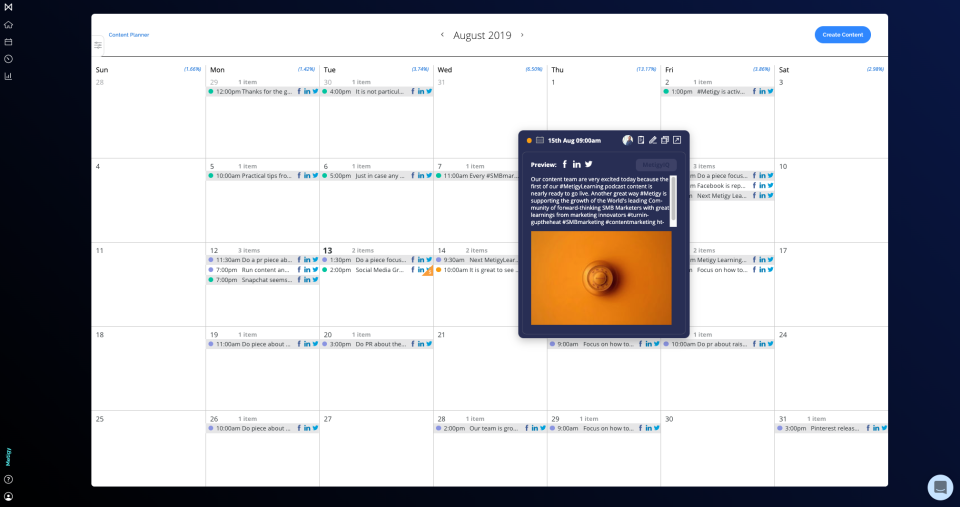 Metigy content planning and publishing screenshot