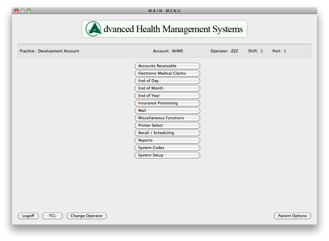 Advanced Health Management Systems (AHMS) Software - Main menu