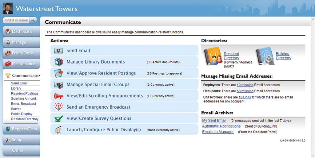 BuildingLink Software - Communications menu