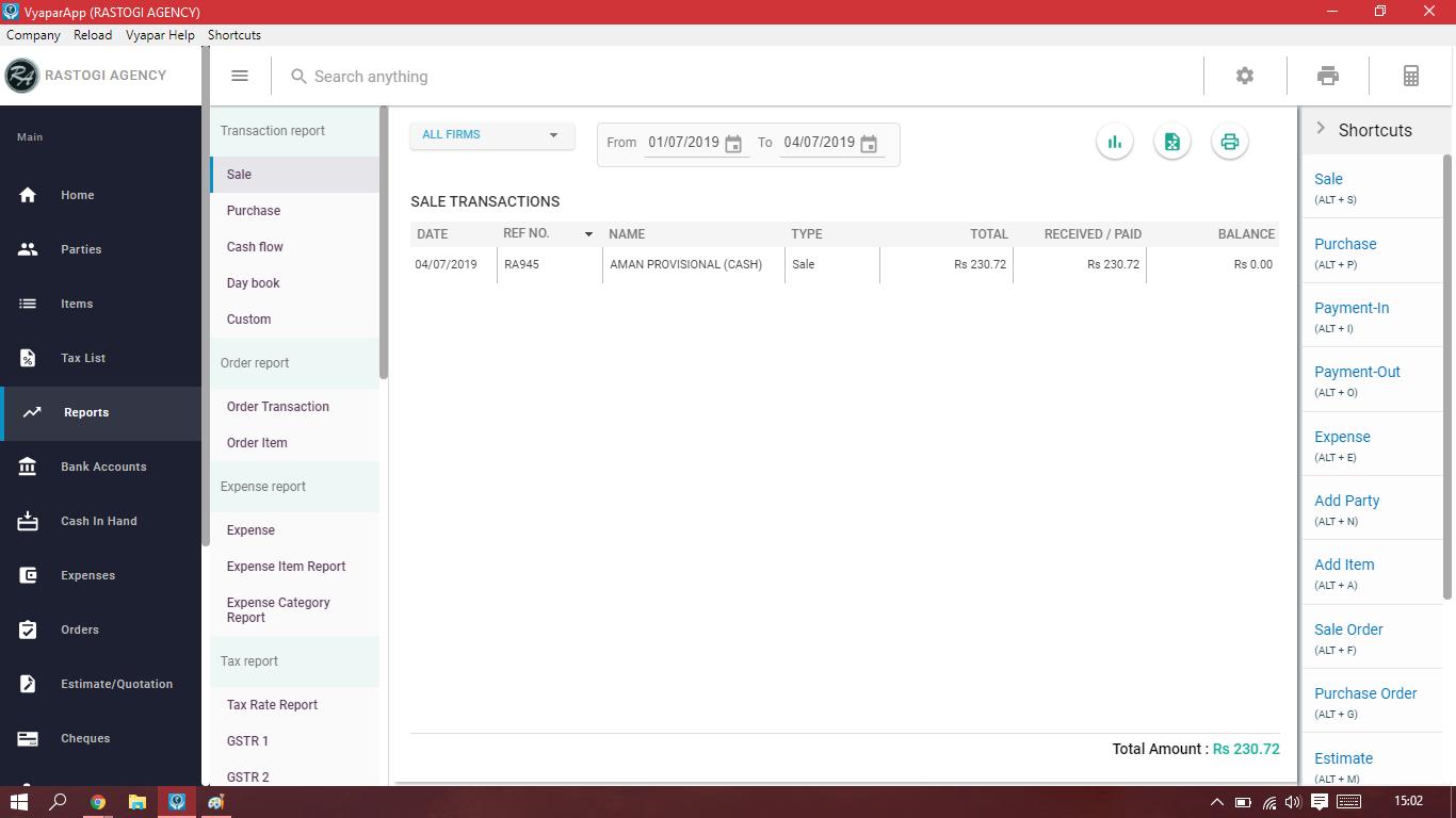 Vyapar Software - Vyapar transaction reports screenshot