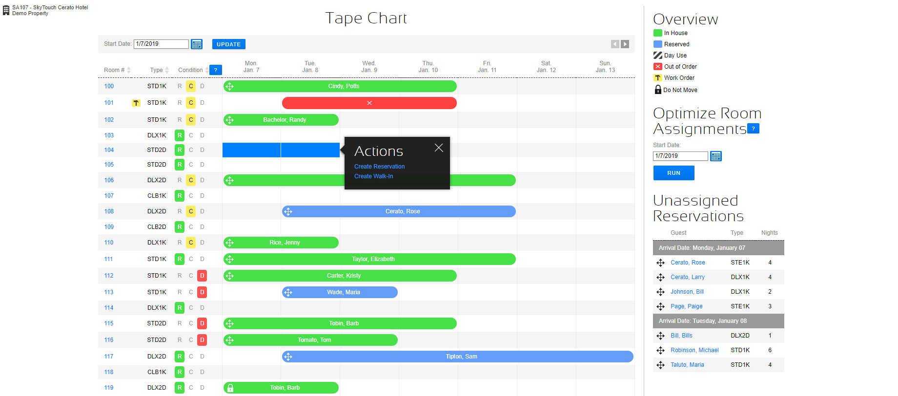 SkyTouch Hotel OS tape chart