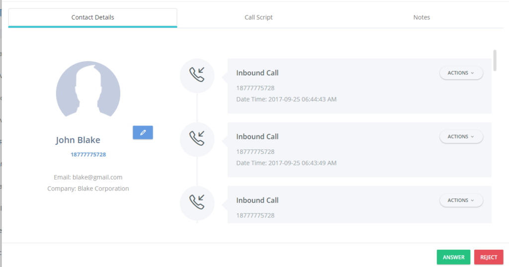 Contacts' activity is logged in Nectar Desk