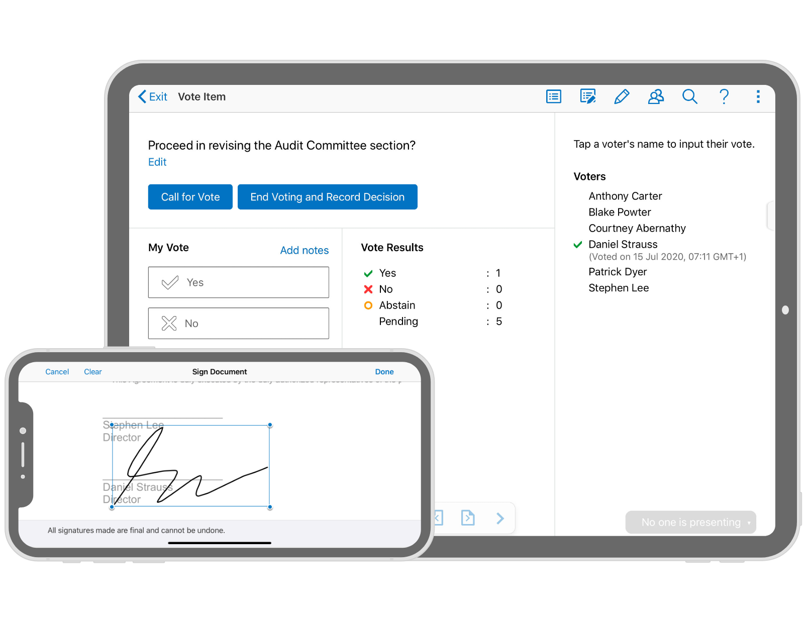 Azeus Convene Software - Voting and approval workflow
