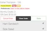 eMenuCHOICE screenshot: eMenuCHOICE order details