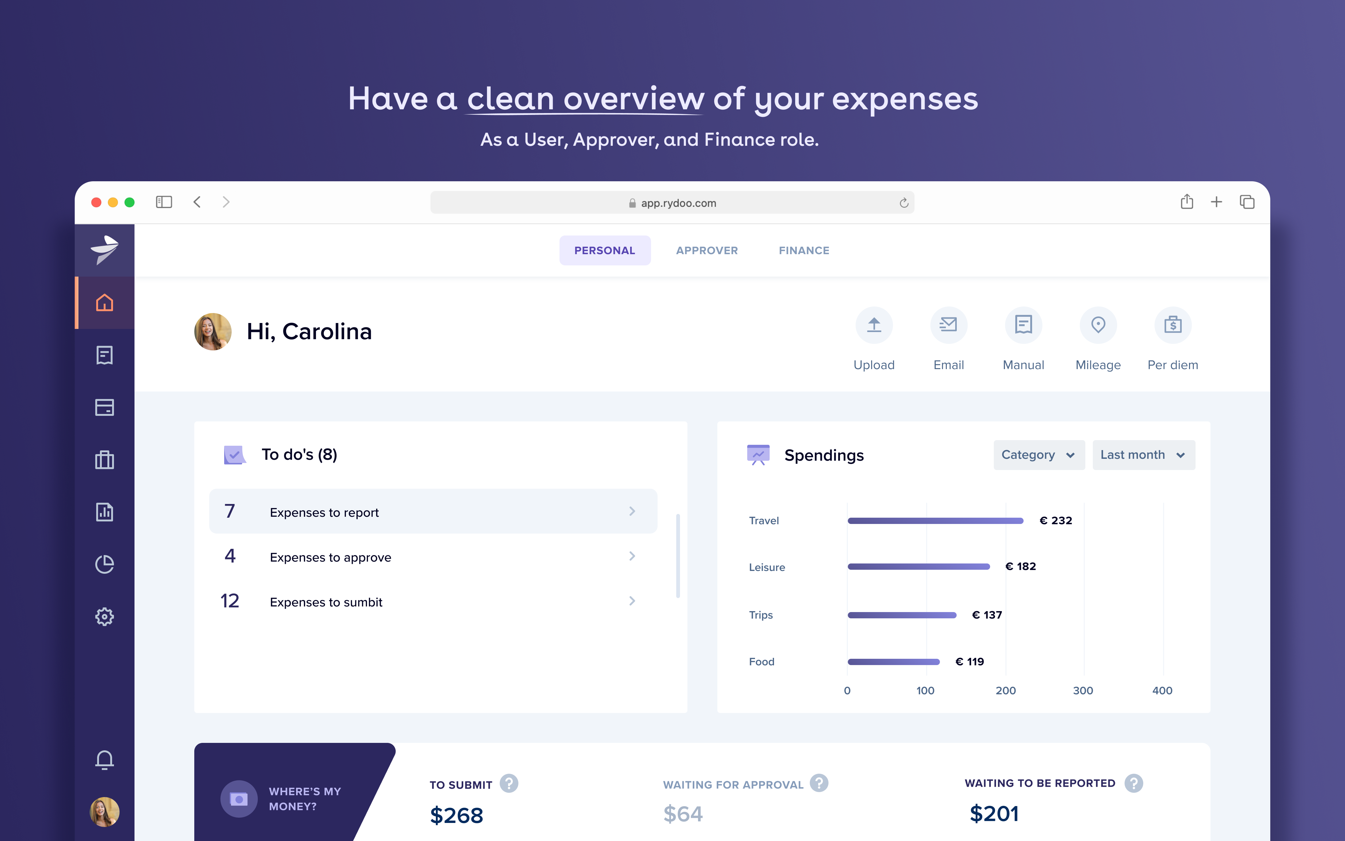 Rydoo screenshot: Have a clear overview on your expenses
