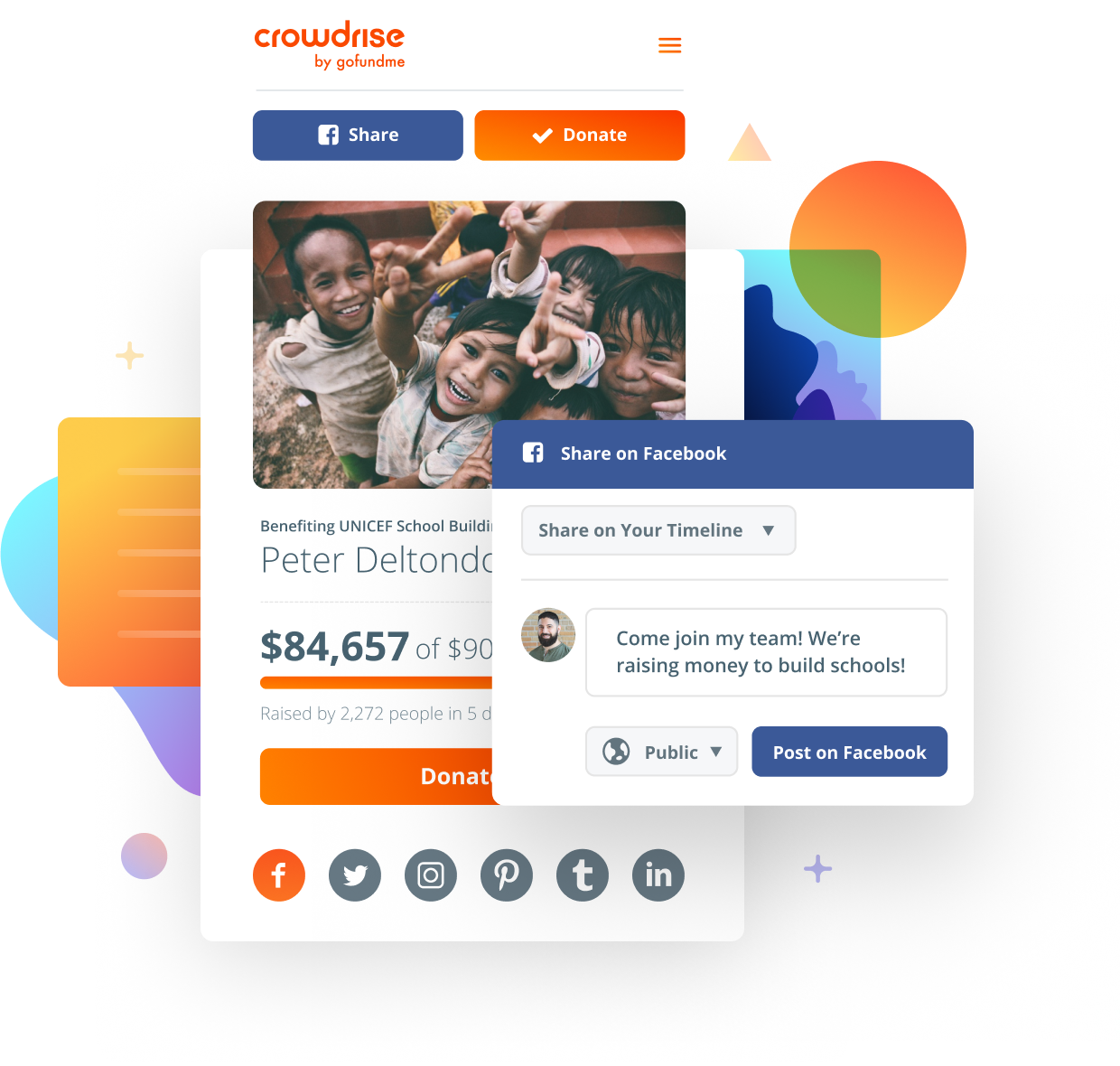 Users can share donation pages on Facebook and Twitter