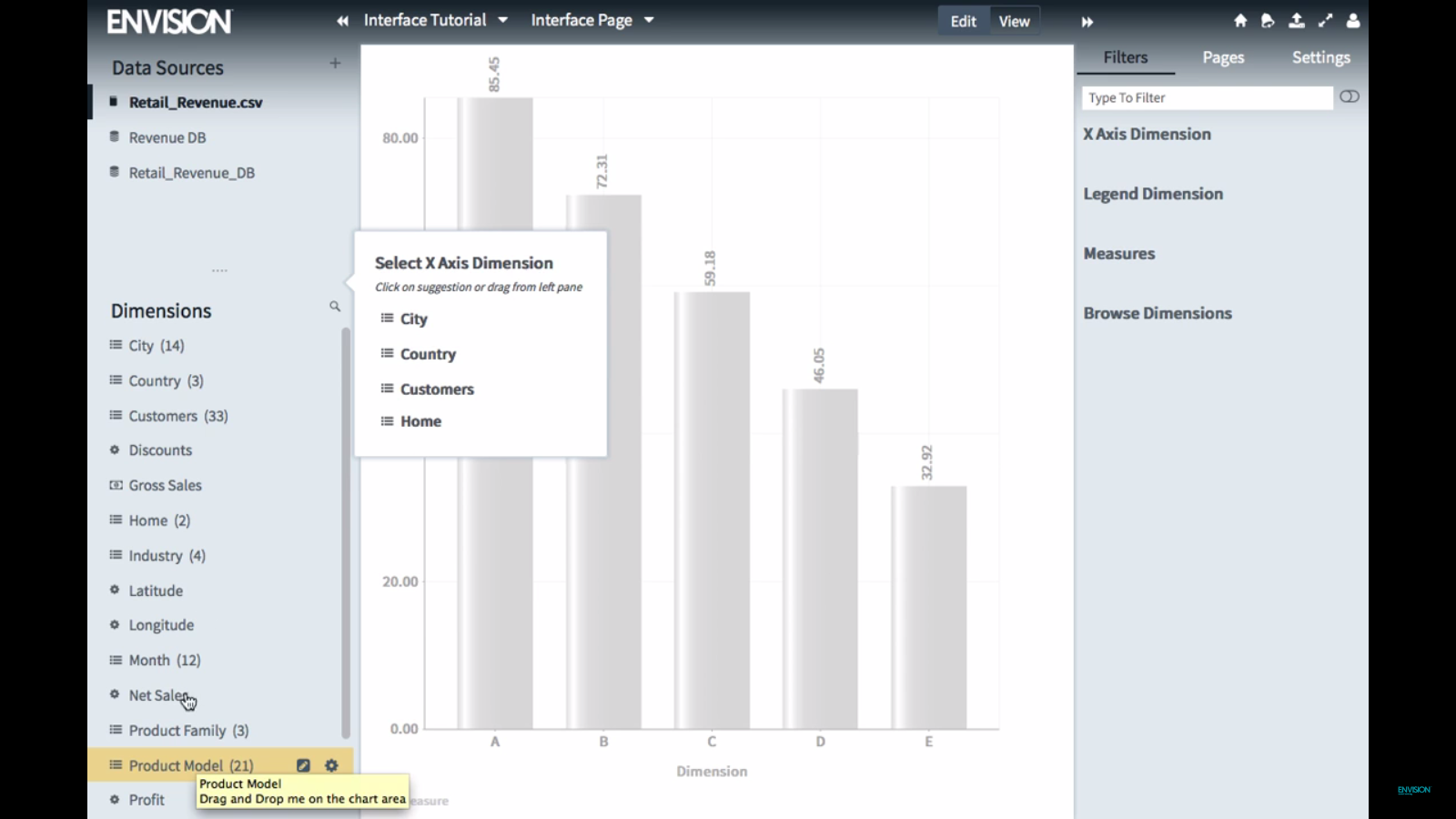 Carriots Analytics Software - Drag-and-drop product model