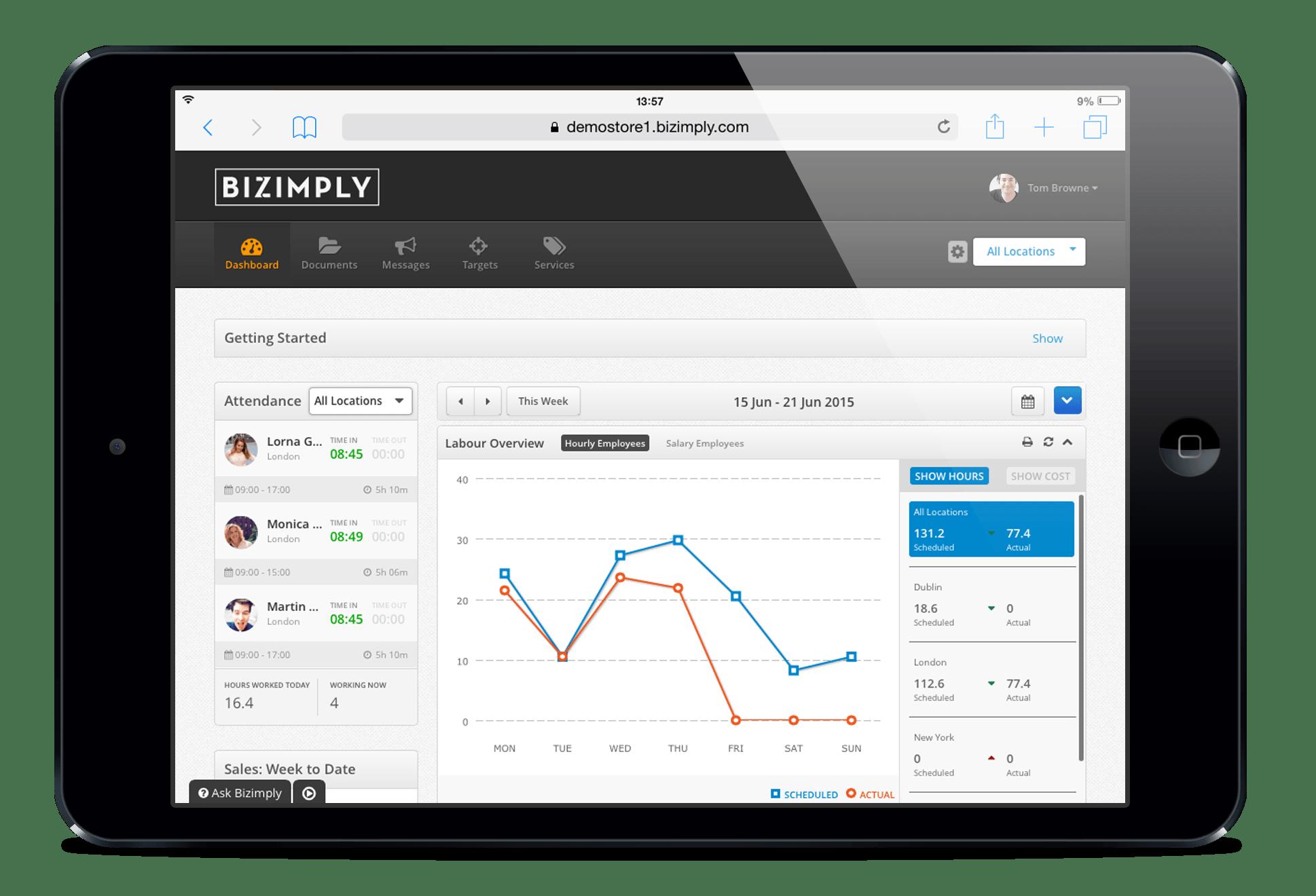 Bizimply Software - Dashboard