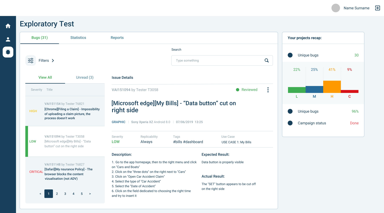 AppQuality's platform: example of bug tracking dashboard