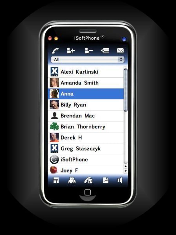 iSoftPhone screenshot: iSoftPhone contact list
