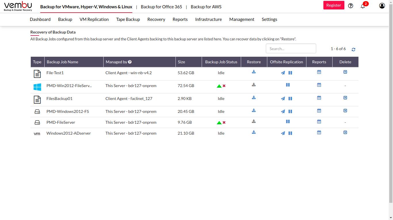 Vembu BDR Suite backup data recovery