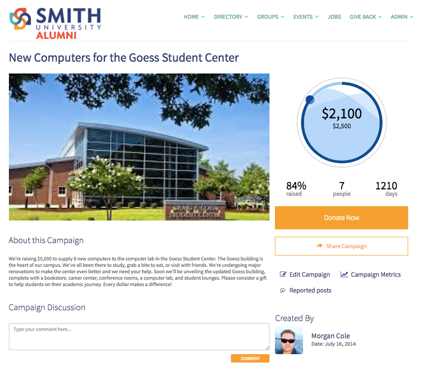 Anyone, whether a member of the community or not, can donate easily with 360Alumni's single-page giving experience.