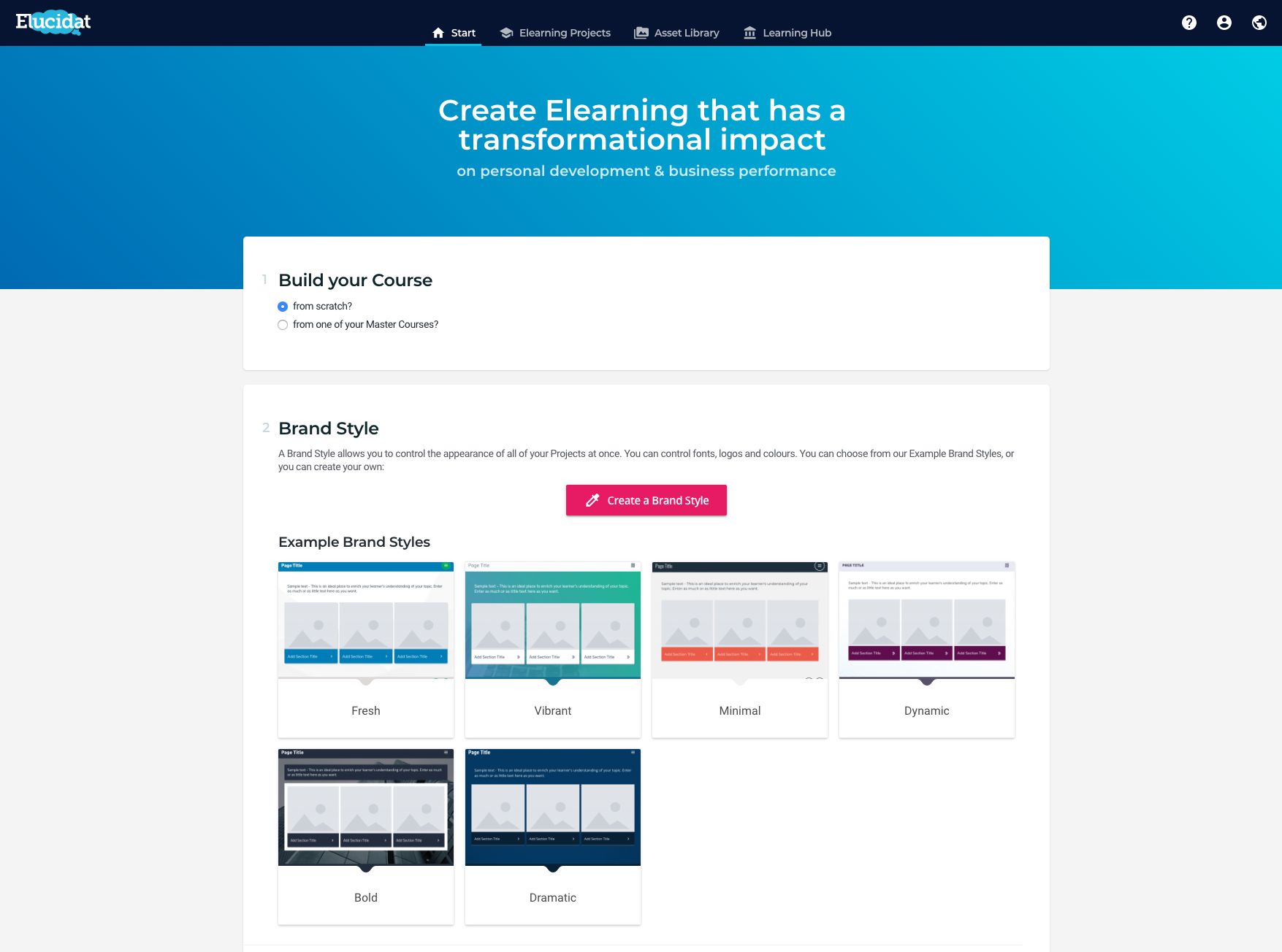 Get started by choosing a Style. You can import your style with one click and manage the styles across your projects for brand compliance and consistency.