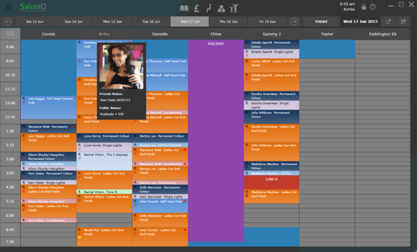 SalonIQ appointment calendar