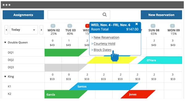 Users can create reservations or block specific dates in the calendar