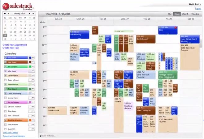eSalesTrack CRM Software - Calendar