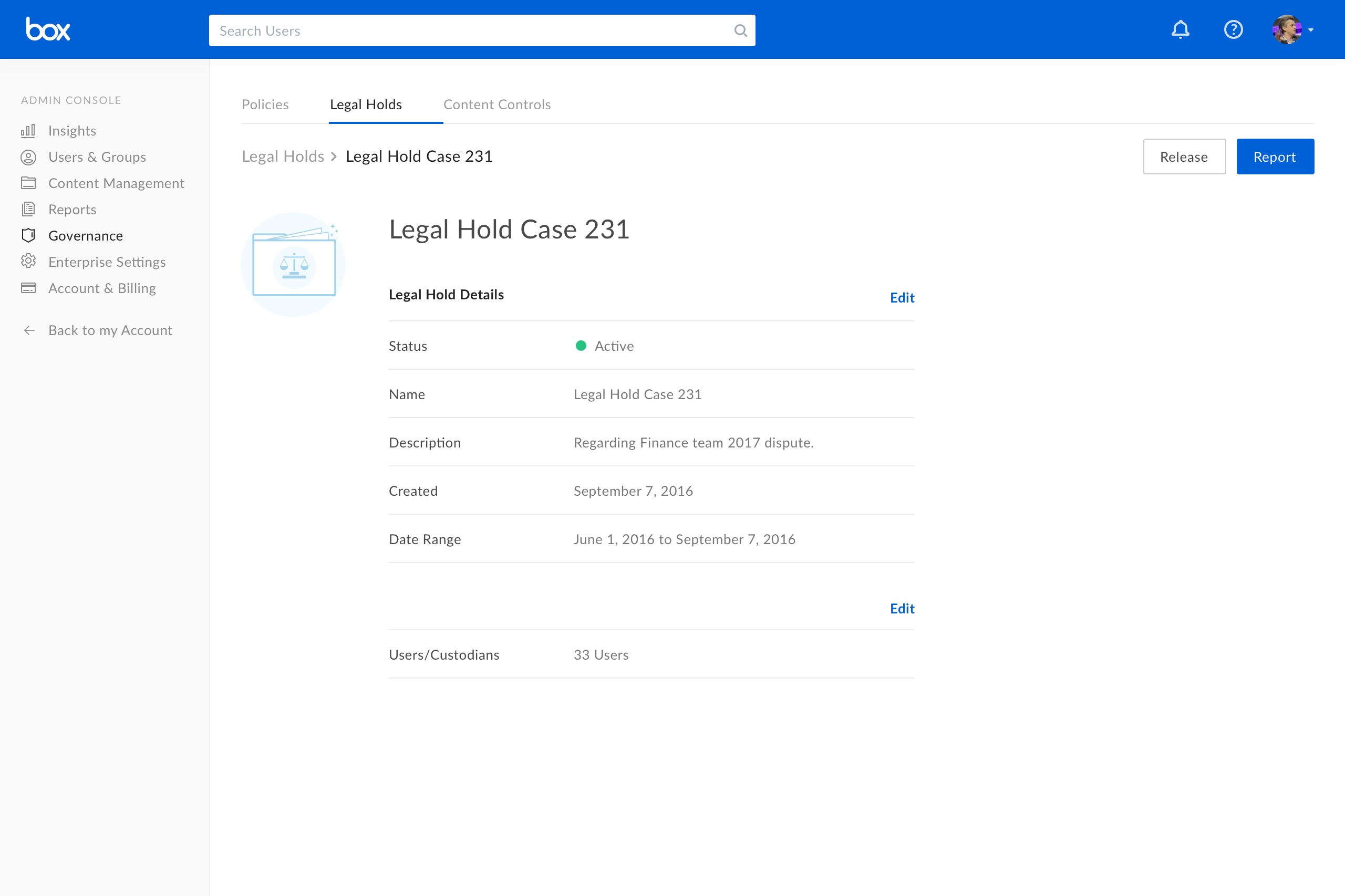 Box Software - Legal holds