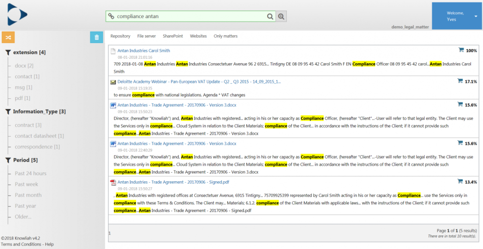 Knowliah locate files through auto-classification engine screenshot