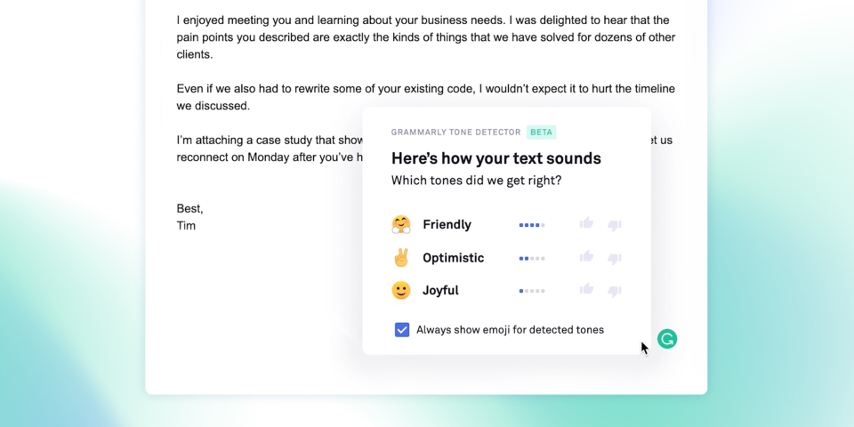 Grammarly's tone detector