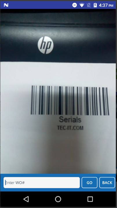 iM3 SCM Suite barcode scanning screenshot
