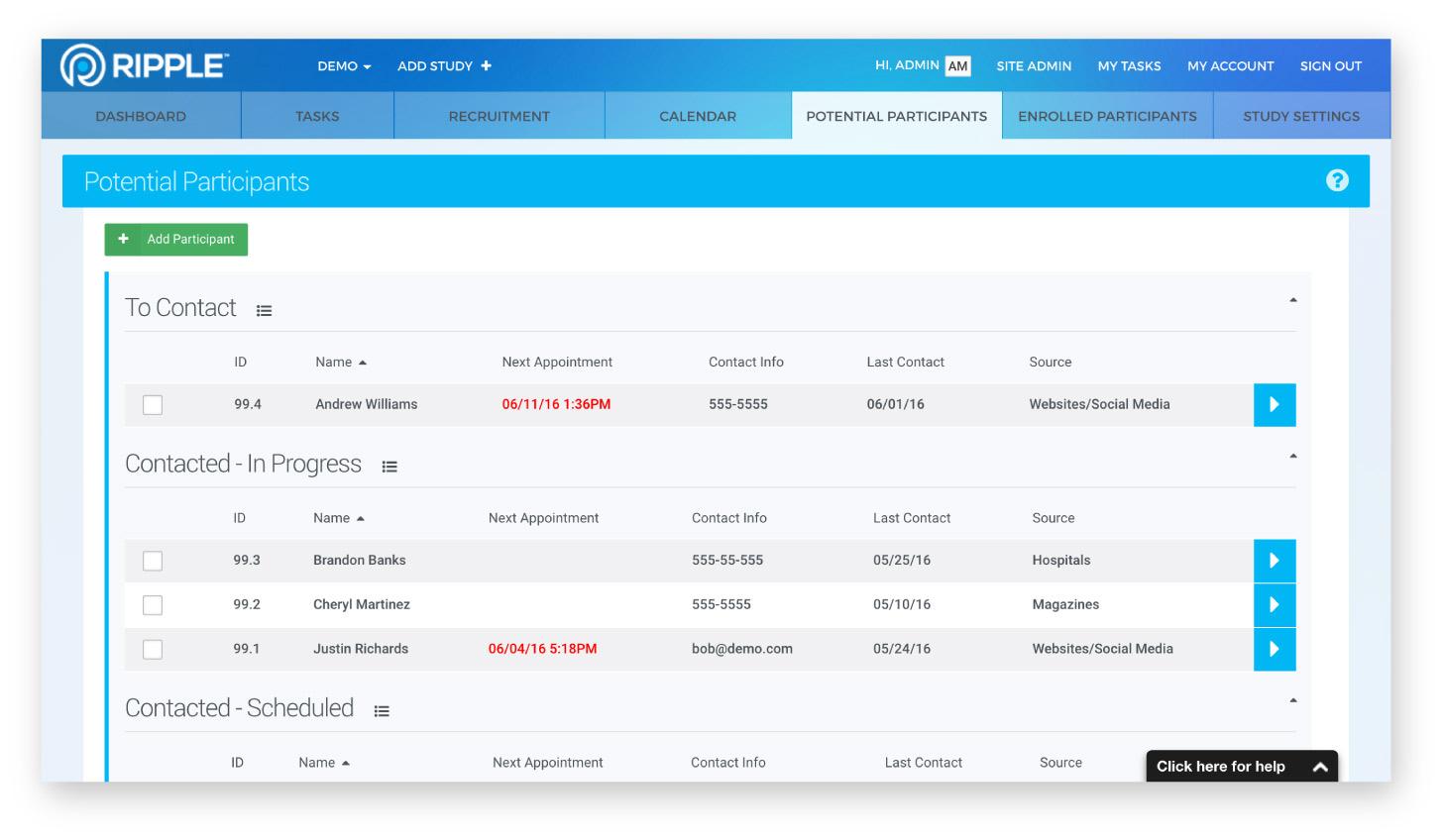 Ripple potential participants list screenshot
