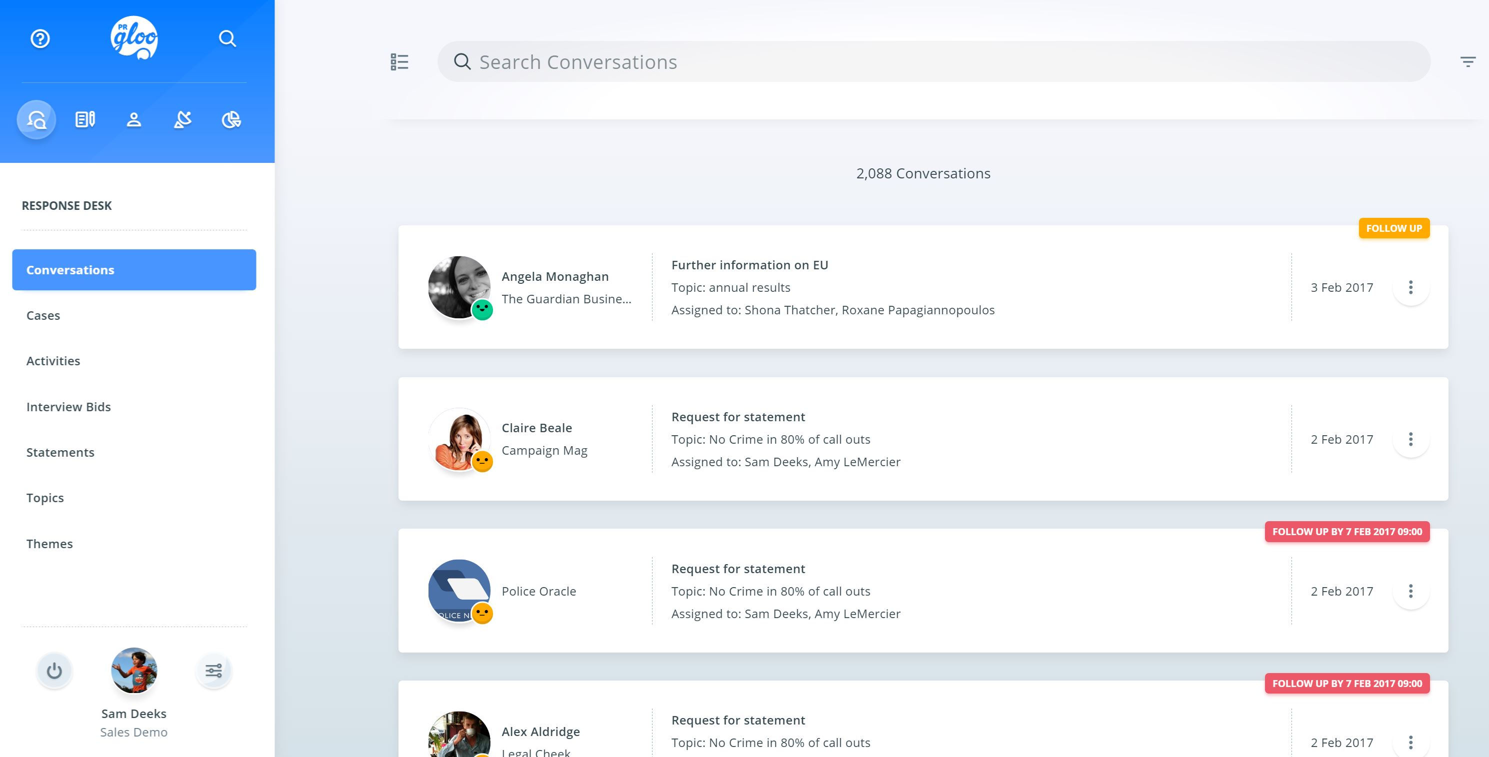 All conversations with contacts and influencers can be tracked in PRgloo