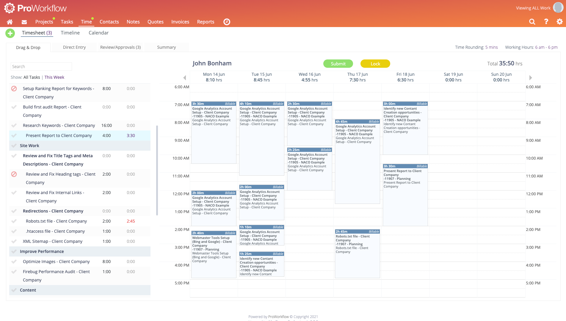 ProWorkflow Software - Timesheet- Track time in a way that suits your business.