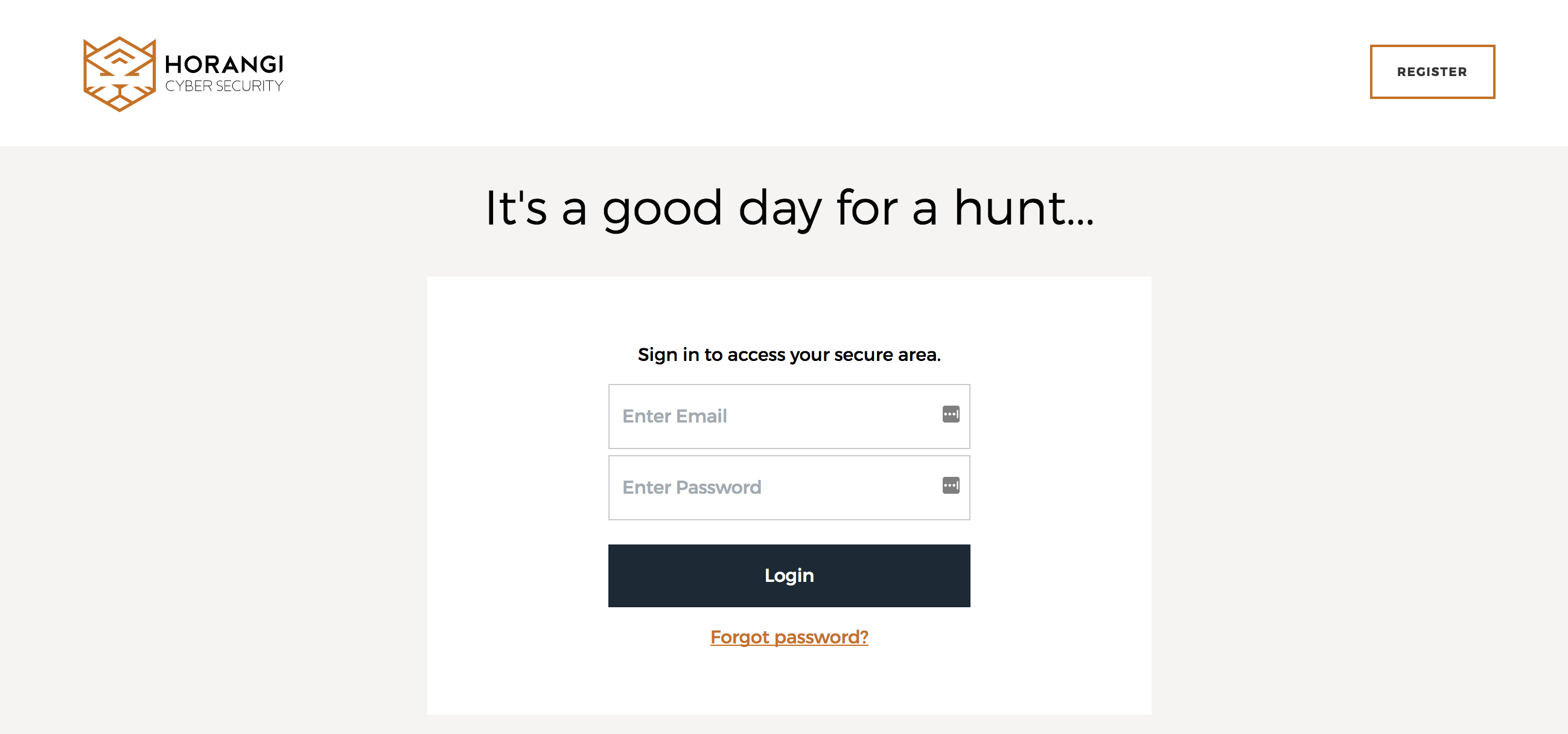 The Horangi login page