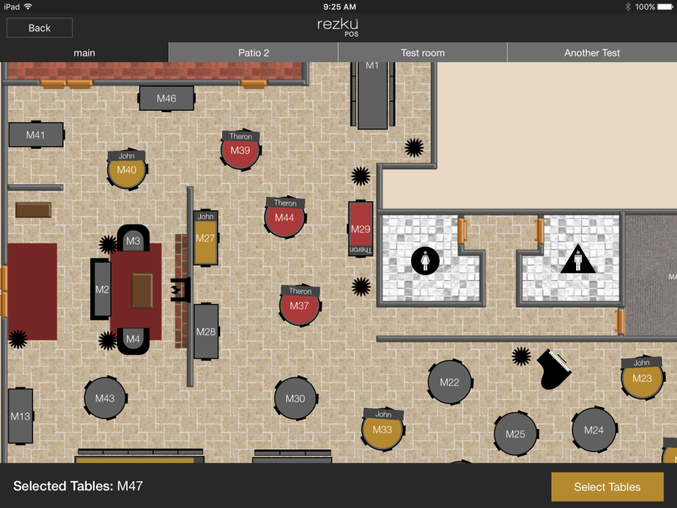 Customized floor plans enable users to add tables, bar stools, or download a background image
