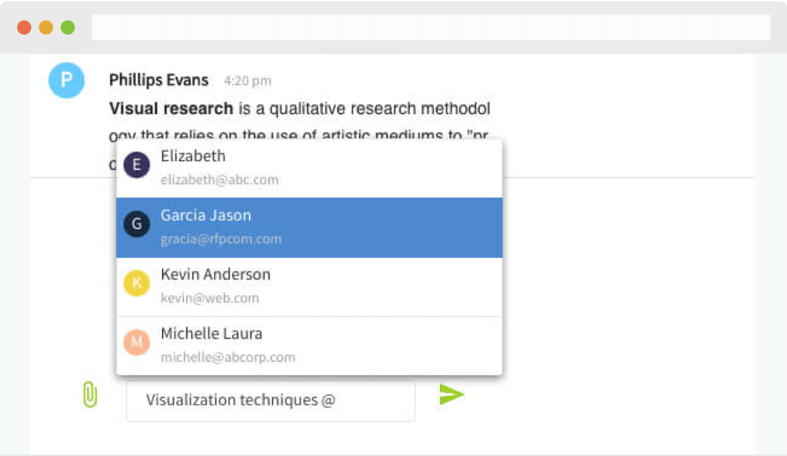 Collaborate across your entire organization using in-app comments and @mentioning