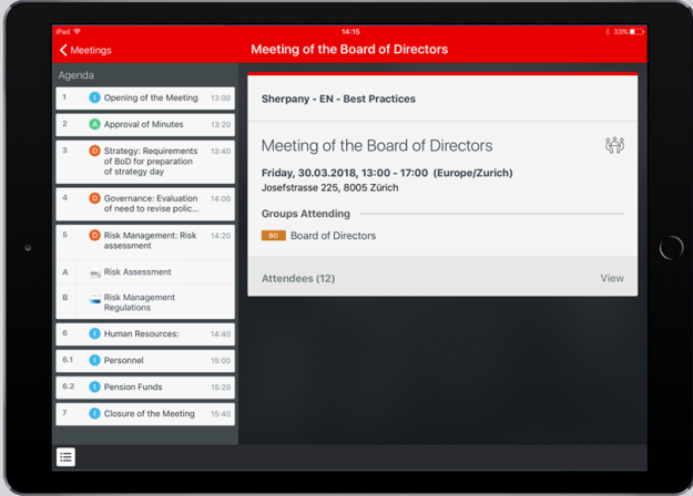 Sherpany meeting agenda