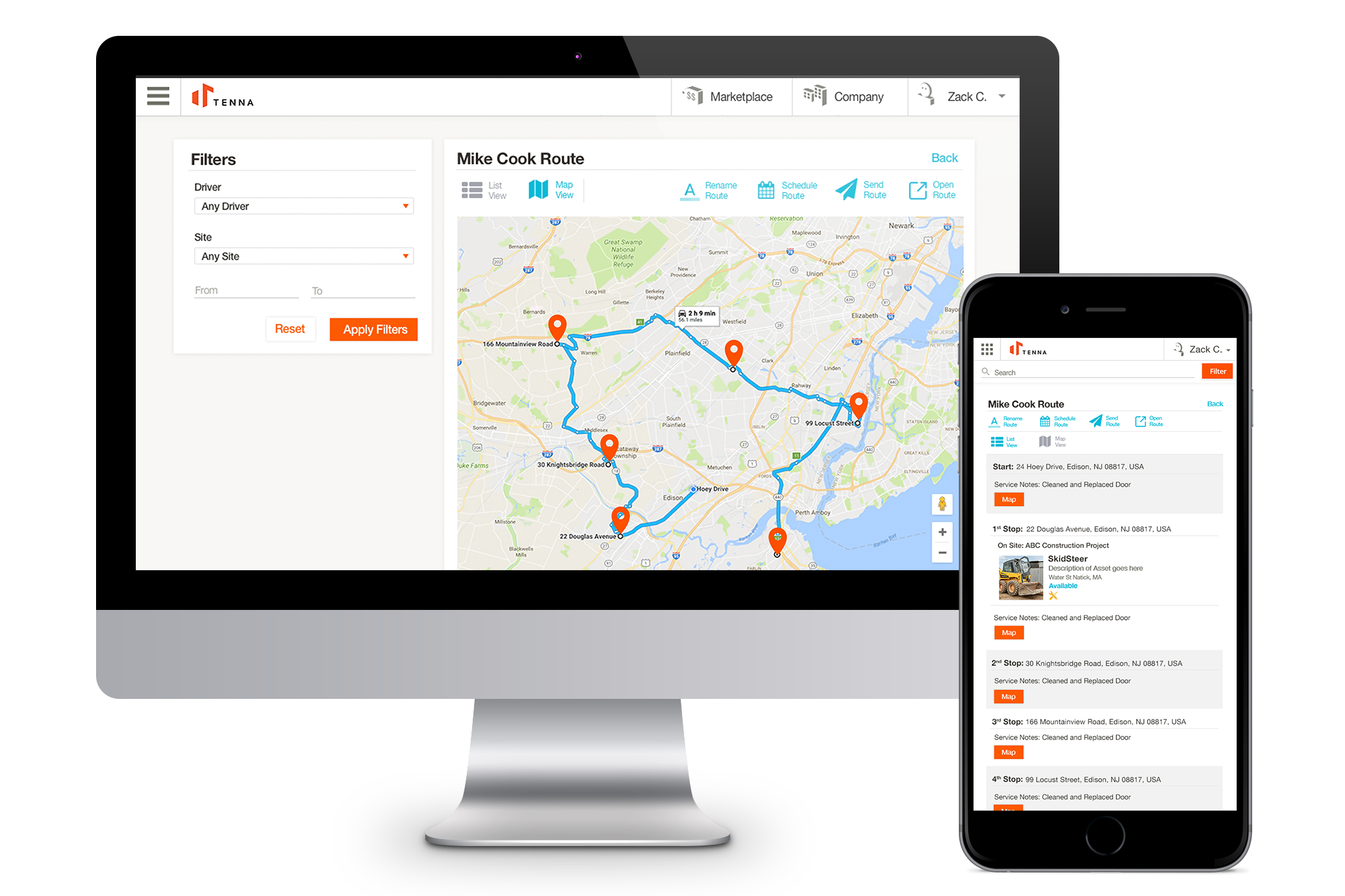Routing feature for drivers.  Integrates the driver in the field, with the main office.