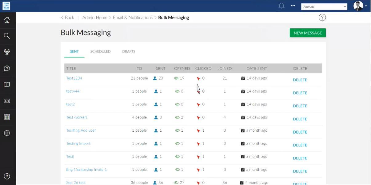 PeopleGrove bulk messaging