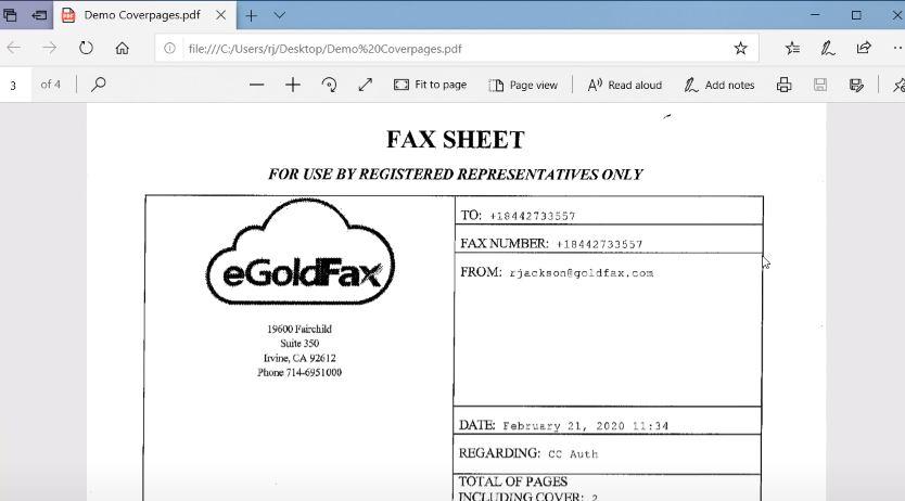 eGoldFax send/receive documents