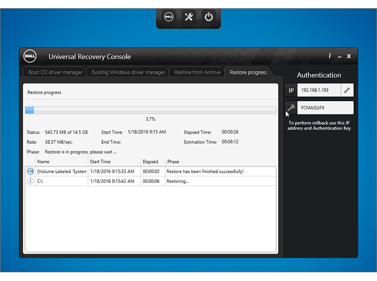Perform bare metal restore with the universal recovery console