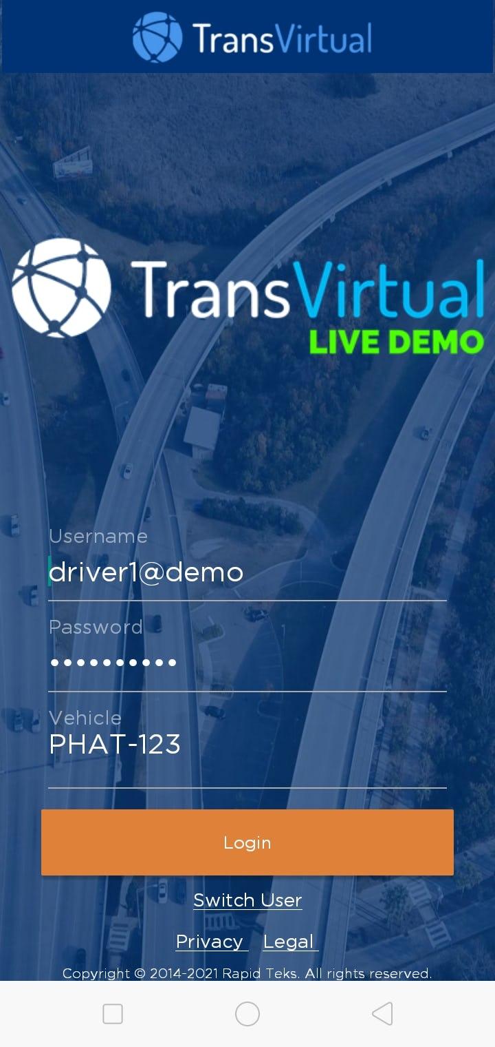 TransVirtual Software - App Login Screen