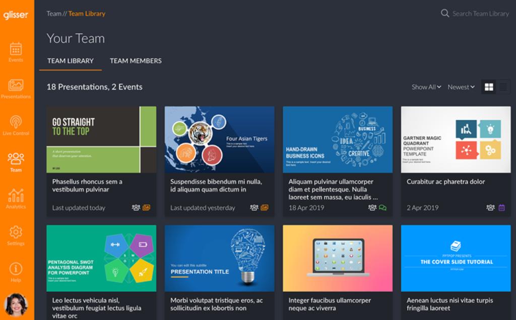 Glisser Software - Glisser presentation team library