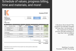 Knowify screenshot: Schedule of values, progress billing, time and materials, and more!