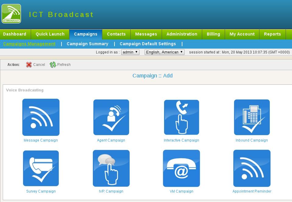 ICTBroadcast Software - Add campaign