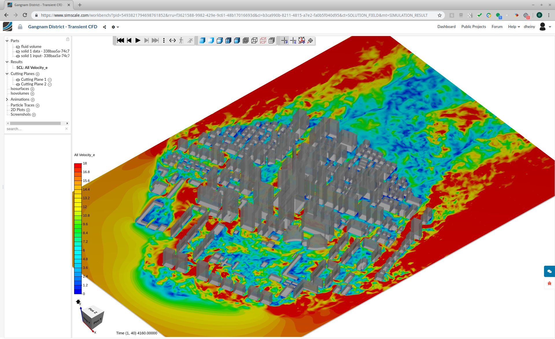Fluid flow simulation of pedestrian wind comfort in an urban area with SimScale