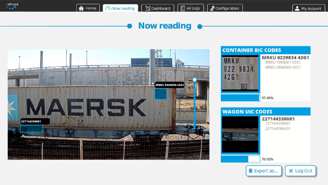Containers ID and ISO codes from rail freight spotting and reading.