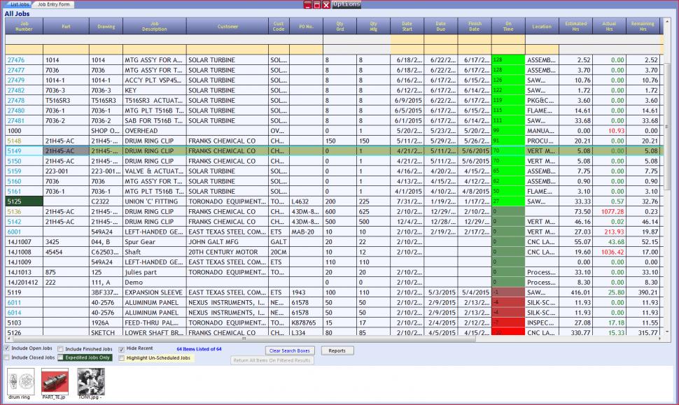 REALTRAC Software - Active job status