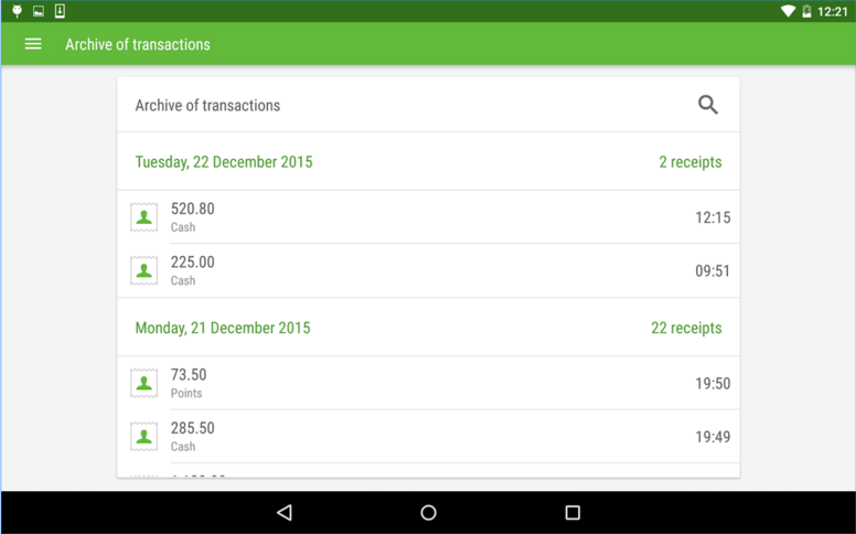 Receipt history review allows users to monitor each transaction: sales, refunds and discounts