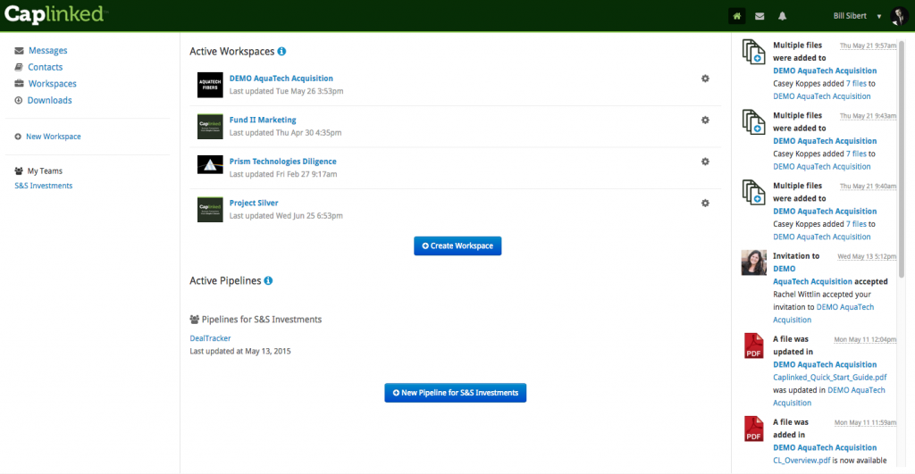 CapLinked screenshot: CapLinked - Customize workspace and track active projects
