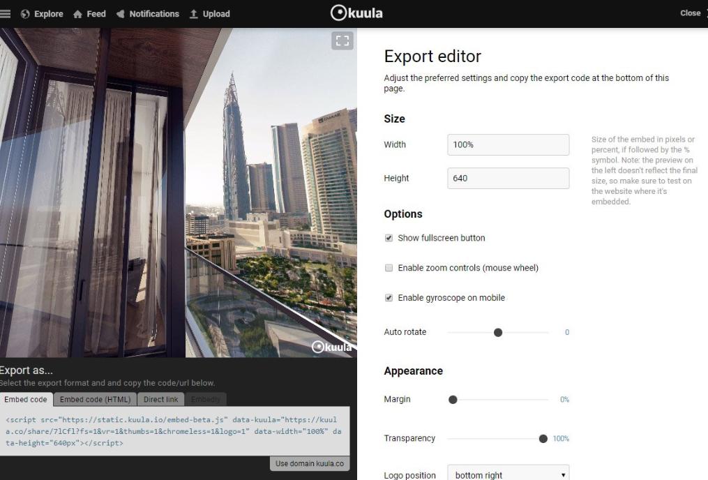 Kuula export editor