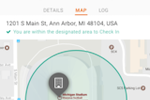 eTime Xpress screenshot: Mobile users can be checked in remotely by simply entering a specific zone shown on the app's dashboard map